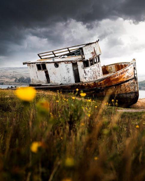 Abandoned Boat drifted ashore